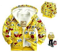 2014 Spring Child Fleece Sweatshirt Cartoon Zipper Sweater Outerwear Cardigan Hooded The Thicker Sponge Baby Children's Coat