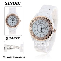 Free shipping+SINOBI 9688 Double Rows diamond shiny crystal rhinestone Quartz Movement luxury women&#39;s and ladies wrist Watch