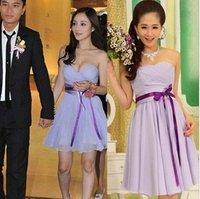 Super Star Sleeveless Ribbon Bridesmaids Dress Solid S to XXL Chiffon Wedding Gown Short Zipper Backless Champagne/Red/Purple