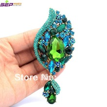 Seperwar Trendy Retro Drop Flower Pendant Brooch Broach Pin 4.1″ W/ Green Rhinestone Crystals Free Shipping