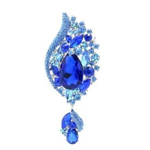 New 2015 Green Rhinestone Brooches Water Drop Flower Broach Pins Crystals Brooch For Women Fashion Jewelry