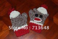 hot sale new design cute monkey handmade crochet women gloves mitten