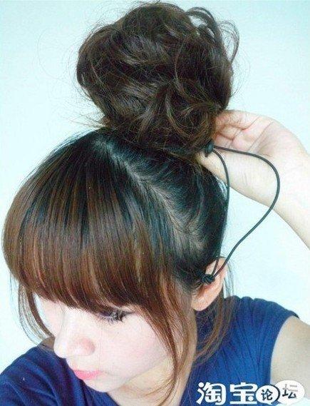 Women Girl Bun Clip In On Hairpiece Hair Extension Scrunchie Ponytail(China (Mainland))