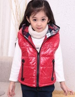 Free shipping children outerwear down jacket vest kids solid hooded cotton down parkas vest baby front zip thick vest with hat