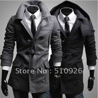 European style detachable hat men's woolen the wild jacket mens dust coat Slim horn button wool coat outwear