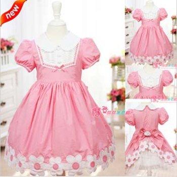 Flower Design Princess Dress Christmas Ball Gown Flower Girl Dress Pink/Red Cotton Children Wear Free Shipping