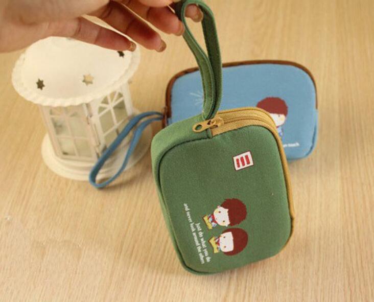 6pcs/lot Fashion double zipper canvas coin pouch mini purse phone organizer bags free shipping(China (Mainland))