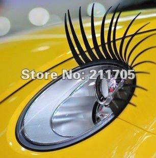 2pairs 4pcs 3D Car Decoration Headlight Eyelashes Sticker Eye Lash Decal Fits Any Car