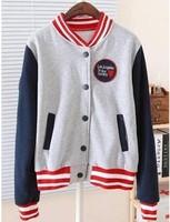 free shipping Baseball uniform women fleece sports hoodies casual outerwear preppy stand collar baseball tracksuits sweatshirts