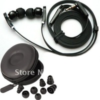 "NEW 3.5mm inear In-ear BLACK "" L""bass Headphone Earphone Earbuds headset For psp MP3 MP4  pc zipper case ""8"" earplugs"