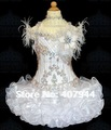 Free shipping white organza halter mini golden beading and feathers cupcake flower girl dress/pageant girl dres