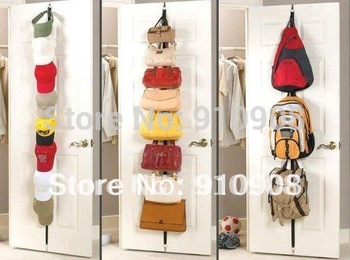 Bag rack storage tape over door hook as seen on TV (Pair)