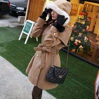 winter cloak long bi-new double breasted lapel woolen Cap hoody Barret long jackets coats winter jacket women brand 2014