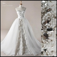 Actual picture Ball Gown Sweetheart Applique beaded Lace Wedding Dresses bridal gown AWD002