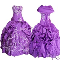 Actual picture Ball Gown Strapless Embroidery Beaded satin prom dresses ACT009