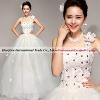 Free shipping elegant formal dress attire one shoulder with flower & bright beads sweet princess wedding dress HoozGee 8557