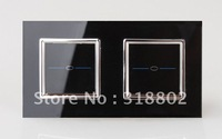 Free Shipping Touch Switch 2 Gangs 1 Way Black Crystal Glass Switch Panel EU Standard Wall Light Touch Screen Switch, LML-D011-B