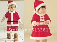 Free Shiping  3 sets/lot  Winter Christmas Romper+Hat Boy Girl Sanda Dress Masquerade Bodysuit Costume Santa Claus