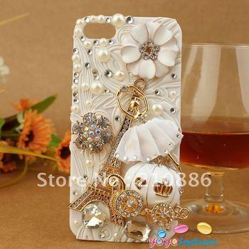 Hard cell phone Case Cover for iphone4/4S,bling Rhinestone Crystal Diamond flower,ballet dance girl,pumpkin car,The Eiffel Tower