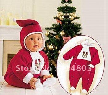 Varejo! Pode escolher o tamanho! 70/80/90/100 bebê meninos / meninas Natal Romper, encapuçado vermelha Inverno Quente geral, Vestuário Crianças