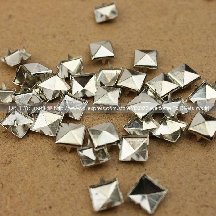 $1.99 Only 100pcs 10mm Silver Pyramid Studs Rivet Spike Nickel Punk Bag Belt Leathercraft Bracelets Clothes Free Shipping(China (Mainland))
