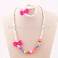 New Plastic Bauble Cute Children Jewellery Set Pink Bow Tie Bead Necklace Bracelet Kid Jewelry Gift Wholesale 24set/lot FKJ0086
