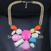 Min.Order $10 MN152 Hot Sale Bubble Necklace/Bib Necklace Gold Chian Pink Muticolor Resin Beads 2012 New style Free Shipping