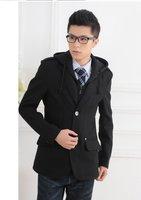Men's Wool Blends Jacket Hoodies Blazers Fashion Suit Winter Warm Coat Korea Style Pea Coat Outdoor Jackets