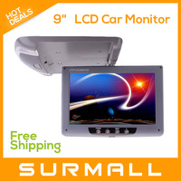 "Free shipping 9"" Superthin Roof Mount LCD Car Monitor with LED Indicators"