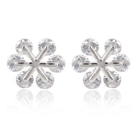 A88056 Fashion white/black/color zircon 18kt white gold filled Stud earrings Snowflake shining earrings for women