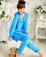 Free shipping Sweet Color Comfortable Fleece Lady Sleepwear Homewear 2 pcs/set 5color