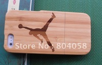 Free shipping wholesale  New Genuine Real Natural Bamboo Wood Wooden Hard Case Cover For iPhone 5 5G Play Basketball