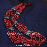 TNL252  Tibetan red coral mini beads brass charms long necklace,Nepal ethnic BOHO fashion,Wholesale ethnic Tribal Necklaces