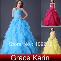 Free Shipping 1pcs/lot Grace Karin  Strapless Organza Ball Gown  Wedding Party Dresses Gown Prom Evening Dress CL3411