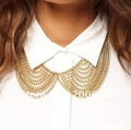 Free Shipping@_@ Woman Gold False Collar Neck Choker Bib Necklace Chunky Chain Rock Biker Punk,NBC001