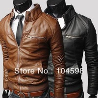 Free shipping!Fashion zipper short design slim fit stand collar casual water wash motorcycle leather jackets men 2013,M-3XL,py08