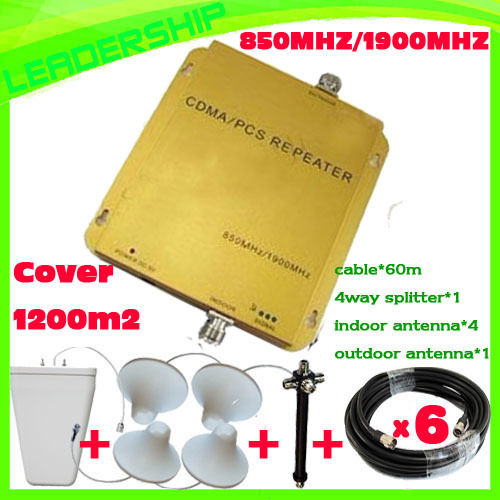 Up to 1000sqm Wholesale CDMA/PCS 850mhz/1900mhz 3G mobile phone signal repeaters CDMA 800Mhz dual band cell phone booster(China (Mainland))