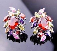 A88607 Fashion color zircon 14kt white gold filled Stud earrings free gift Zircon earrings