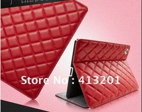 Rhombus pattern PU protective leather stand case cover for New iPad 3 iPad 2 free shipping