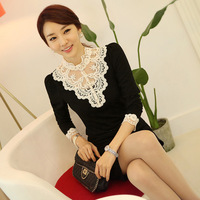 Free shipping!2013 autumn women's Top Dulcea  long sleeve T-shirt  Lace shirt