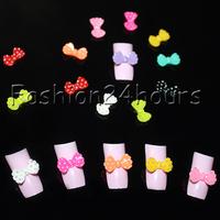 New 100pcs Mixed Colors Acrylic Nail Decoration Cute Bow Tie 3D Nail Art Tips Nail Decoration Free Shipping