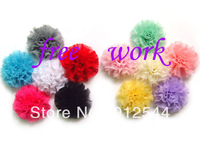 "2-2.3""  chiffon puff Flowers , accessories for women hair ,  free shipping by EMS,  5colors in stock, 300pcs/lot"