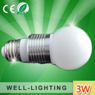 Fedex Free Shipping! 3W led  bulb light e26/E27,Frosed or Clear PC Cover,AC85-265V,DC12V,Globe shape