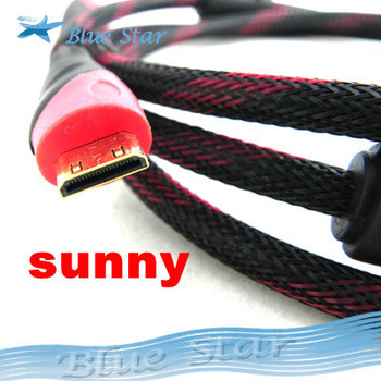 Free Shipping 1.5M High Quality Mini HDMI to HDMI Male Cable For HDTV DVD DV