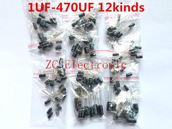 Free shipping 120pcs 12 value kit 1uF-470uF Electrolytic Capacitor Package 1UF 2.2UF 3.3UF 4.7UF 10UF 22UF 33UF 47UF 100UF 220UF
