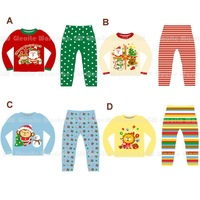 2012 Winter Korean brand new children's Christmas santa and animal pajamas sets kids cotton long sleeve home wear free shipping