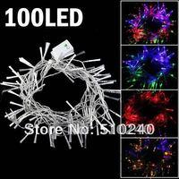 Led String Lights Decor Lighting  for Wedding Club Christmas Tree 10M 100Leds with Fiber Tail EU Plug  Multi-color Free ship