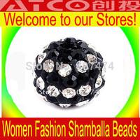 Wholesale Shamballa ball 100pcs/lot Black 10mm Shamballa Beads Crystal Disco Ball Micro Pave Beads Fit Shamballa Bracelet Free