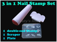 3 in 1 DIY Nail Art Stamping Set Nail printer,Two-head Stamps + Scrapers+nail stamp plate Freeshipping 0056