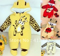 2014 NEW baby children Winter Warm romper+shoes+hat COW Beatles  baby clothing s28